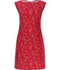 vestido cuello barco estampado color rojo, talla m