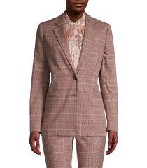 rebecca taylor women's tailored plaid blazer - camel rose - size 4