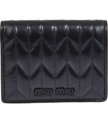 embossed logo quilted buttoned wallet