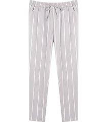 pantalón estampado a rayas con cordon color gris, talla 10