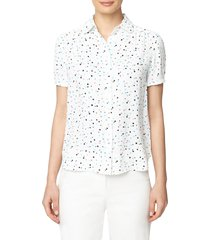 anne klein dot print peter pan collar blouse, size x-small in nyc white/siren blue combo at nordstrom