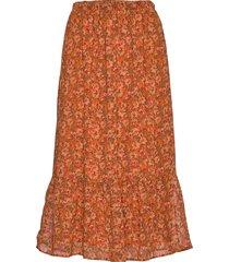 sc-bodil knälång kjol orange soyaconcept