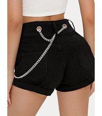 negro cinturón diseño shorts de mezclilla de cintura media