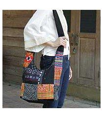cotton sling tote bag, 'hmong colors' (thailand)
