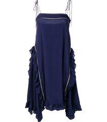 see by chloé frill trim cami dress - blue