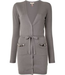 burberry pre-owned v-neck belted cardigan - grey