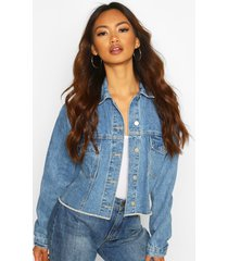 boxy sleeve jean jacket, mid blue