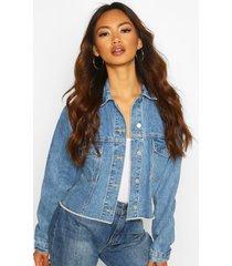 boxy sleeve jean jacket, mid blue