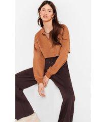 womens cropped button down polo sweatshirt - oatmeal