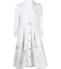 a.n.g.e.l.o. vintage cult 1980s embroidered motif flared dress - white