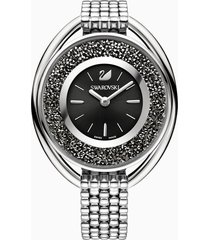 orologio crystalline oval, bracciale di metallo, nero, tono argentato
