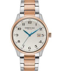 kenneth cole new york men's classic two-tone stainless steel bracelet watch 42mm