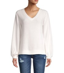 saks fifth avenue women's v-neck sweater - coconut - size xl