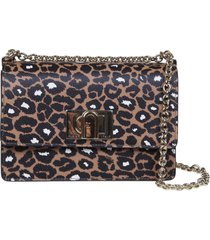 furla 1927 mini shoulder bag in leopard printed leather