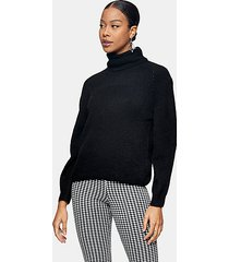 black roll neck knitted sweater - black