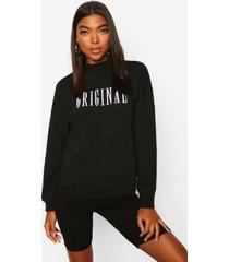 lange trui met geborduurde 'original' slogan, zwart