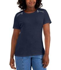 karen scott cotton zipper shoulder t-shirt, created for macy's