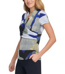 dkny abstract side ruched blouse