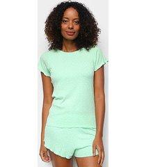 pijama cor com amor shorts doll manga curta coração feminino - feminino
