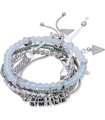 guess silver-tone 5-pc. set mixed bracelets