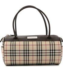 burberry pre-owned nova check barrel-body tote bag - brown
