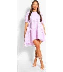 oversized puff sleeve smock dress, lilac