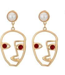 moda esagerata orecchini viso umano astratto strass colore oro ciondola orecchini per le donne
