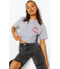 kort t-shirt met borstopdruk, grey marl