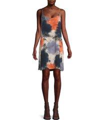 monrow women's tie-dye slip dress - coral - size s