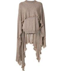 deveaux frayed cape-panel jumper - brown