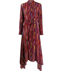 chinti and parker printed silk mid-length dress - red