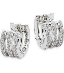 adriana orsini women's cubic zirconia huggie hoop earrings
