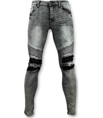 skinny jeans true rise grijze spijkerbroek biker jeans - 3012-2