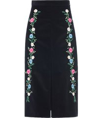 miu miu ribbed velvet embroidered skirt - black