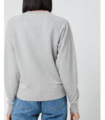 maison kitsuné women's sweatshirt tricolor fox patch - grey melange - l