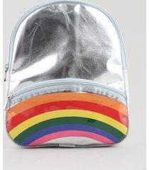 mochila infantil metalizada arco-íris com bolso prateada