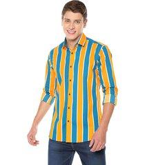 camisa m l rayas amarillas spandex