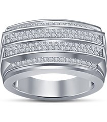 men's fashion .925 sterling silver white simulated diamond four row band ring