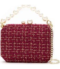 isla tweed clutch bag with pearl detail - red