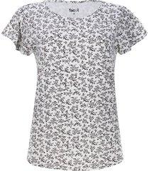 camiseta c/r flores color blanco, talla m