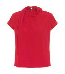 blusa feminina com gola drapeada de seda - vermelho