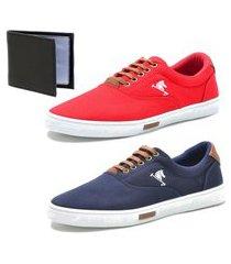 kit 2 pares sapatenis conforto polo joy e carteira azul/vermelho