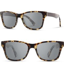 men's shwood 'canby' 54mm acetate & wood sunglasses - havana/ elm burl/ grey