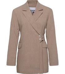 melange suiting blazers business blazers roze ganni