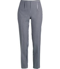 michael kors women's gingham side-zip wool-blend pants - midnight - size 2