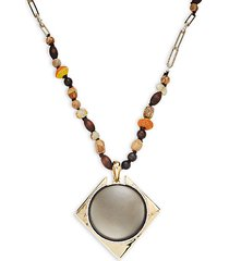 wood & mixed bead lucite pendant long necklace