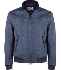 blue herringbone printed mid season jacket wool effect