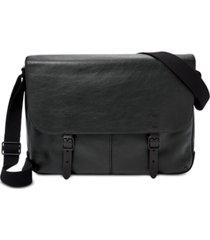 fossil men's leather buckner messenger bag