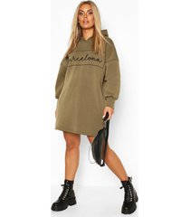plus barcelona oversized hooded sweat dress, khaki