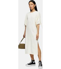 ecru drawstring midi dress - ecru